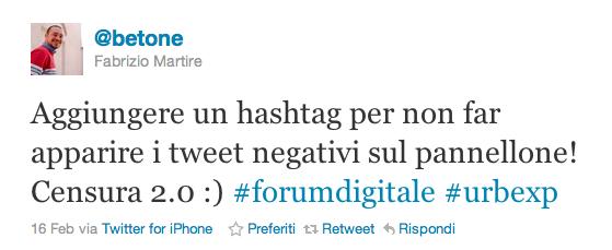 aggiungere un hashtag per non far vedere i twit negativi